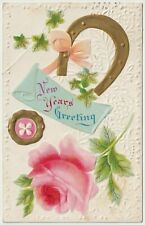 Antique Embossed Postcard - New Years Greeting - Appears Hand Painted