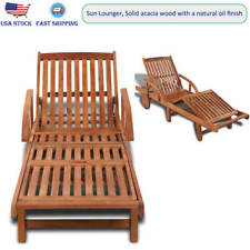Wooden Sun Lounger Bed Pool Outdoor Garden Patio Pool Deck Seats Solid Acacia