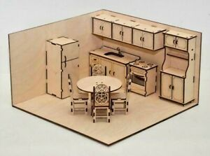 1:12 Scale Doll House Furniture Kitchen Set- 12 Piece Set-Traditional style