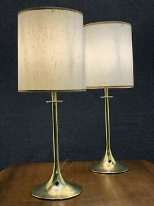 Pair of Mid Century Modern Mutual Sunset Tony Paul Brass Tulip Base Table Lamps