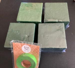 Lot 4 Foam Blocks Bricks 4x4x3 Each Faux Flower Arrangements, 1 Pack Floral Tape