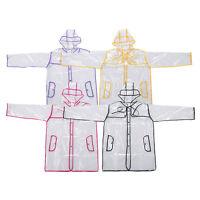 Women Girls Men Transparent Poncho Hoodie Clear Rainwear PVC Raincoat Rain Coat