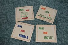 VINTAGE ORIGINAL SET OF 4 FIRST AID SIGNS GINGER WAY UP SODA ADVERTISING RARE