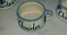 Nautical set of chowder chili or soup bowls handmade collectible decorative