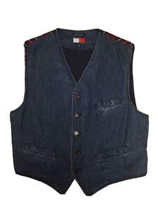 Vintage Tommy Hilfiger Denim Vest Plaid Back XL