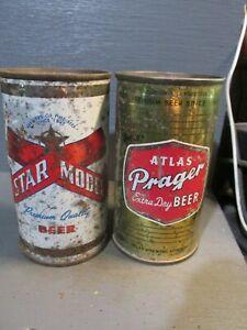 STAR MODEL & ATLAS PRAGER FLAT TOP BEER CANS     -[EMPTY CANS, READ DESC.]-