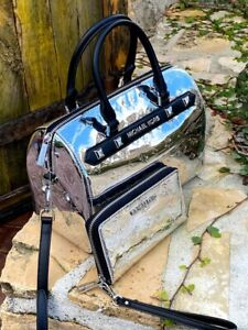 NWT Michael Kors Large Duffle Metallic studded Signature handbag/Wallet Silver
