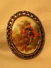 Lovely Lacy Rimmed Vintage Decal Ceramic Colonial Courting Couple Brooch Pin