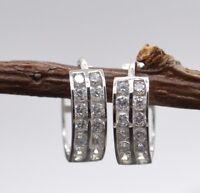 JM05 14K Solid White Gold 11mm 2 Row White Cubic Zirconia(CZ) Huggies Earrings