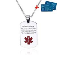 Custom Stainless Steel Emergency Medical Alert ID Tag Necklace Free Engraving