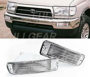 CHROME WITH CLEAR LENS BUMPER SIGNAL LIGHT PAIR SET FOR TOYOTA 4RUNNER 1996-1998