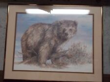 Print Signed Grizzly Bear Doug Lindstrand matted and framed 1983