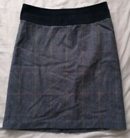 Joules Women's Navy Blue Check Wool Skirt Size 8 Good Used Condition
