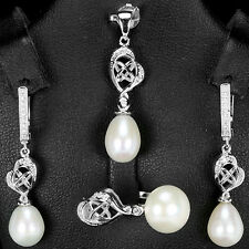Freshwater PEARL & CZ STERLING 925 SILVER EARRINGS PENDANT RING JEWELRY SET