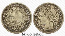 2 Francs 1887 A (Paris) Cérès. France. Argent/ Silver