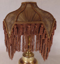 Mocha Bridge Victorian Fringed Fabric Poly Blend Lamp Shade ,Washer Fitter #798A
