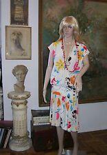 EMANUEL UNGARO Italy DRESS Silk Floral V Neck Pleated Skirt 3 Button EXC Vintage