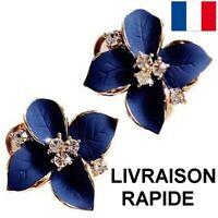Boucle D'oreille Camélia Fleur Bleu Strass Bijou Femme Cadeau Soirée Mariage