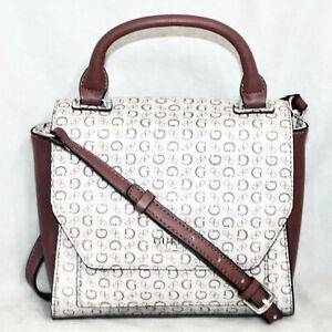 GUESS Brown Beige Signature Top Handle Magnetic Flap Hobo Crossbody Bag SV651818