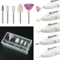 5 Bits Electric Nail File Drill Kit Tip Manicure Toenail Salon Pedicure Pen D1P0