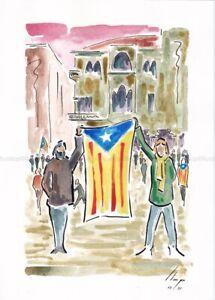 Llop - Reus, manifestacio al Mercadal #3 - aquarel·la original 30x21