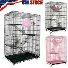3/4Tier Ferret Bird Cage Cat Hamster Rat Budgie Pet Aviary Large Cages On Wheels