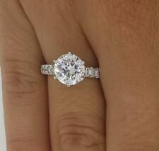 3.10 Ct Round Cut D/Si1 Diamond Solitaire Engagement Ring 14K White Gold