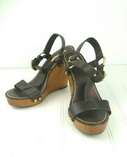 Tory Burch Wedge Sandals Genuine Leather Gold Logo Brown Wood Women's Size 10M