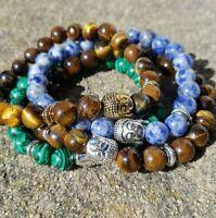 Quartz Beads Buddha Bracelet Silver Gold Protection Anxiety Stress Healing