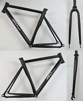 Heli-Bikes Track Pista Fixie Fixed Gear Bahnrad Rahmen schwarz NEU 54cm + Gabel