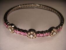 Stunning Estate 18K White Gold Pink Sapphire Champagne Diamond Bangle Bracelet