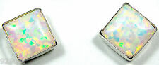 6mm White Fire Opal 925 Sterling Silver Stud Post Earrings - Handcrafted in USA