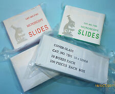 Box of 100 Cover Glass for Microscope Slides, High Quality, Brand New Boxed