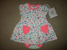 NWT Girl's 3-6 month Knit dress with built-in bodysuit Pink Hearts Cute
