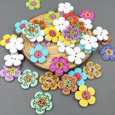 50/100PCS  Scrapbooking Costura 2-Holes De Botones De Madera Flor Puntos
