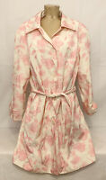 "Liz Claiborne Pink Ivory Jacket Coat Plus Size 2x 26"" Lining Button Down Floral"