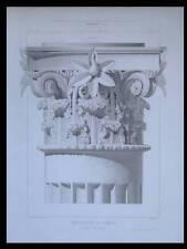 POMPEI, CHAPITEAU CORINTHIEN - 1862 - GRAVURE ARCHITECTURE -