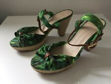 CLARKS GREEN FLORAL HIGH ROPE HEEL SANDALS 6D Tropical print