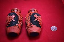 Antique Chinese Pair of Lacquer Vases