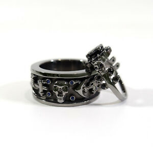 Halo Black Diamond Skull Wedding Ring Band Set His Hers Gun Metal Fn 925 Silver