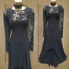 UK 14 Karen Millen Black Lace Embroidered Evening Party Gothic Maxi Long Dress