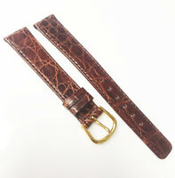 Genuine Crocodile Leather 16mm Brown Tone Germany Leather Gold Buckle Watch Band
