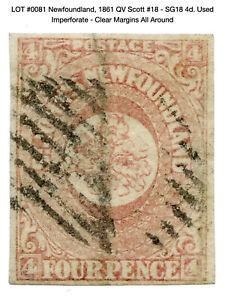 0081: Newfoundland, 1861 QV Scott #18 - SG18 4d. Used