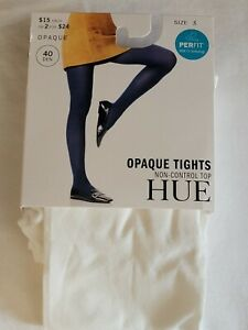 HUE Opaque Tights, White, Size 3