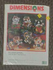 Dimensions Merry Kittens Ornaments Cross Stitch Plastic Canvas Kit 8519 NIP