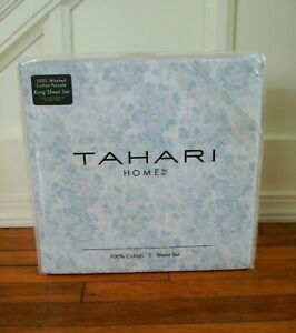TAHARI Home King Percale Sheet Set 4-PC Cottage Chic Floral Light Blue & White