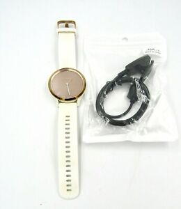 Garmin Vivomove HR Smartwatch White Silicone Band, Rose Gold w/ Charger - Used