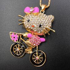 Pink Rhinestone Enamel Bicycle Bike Cat Betsey Johnson Pendant Chain Necklace