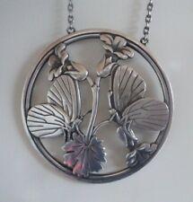 Georg Jensen LARGE Danish Stg Silver Pendant 105 Denmark 1960s Midnight Blossom