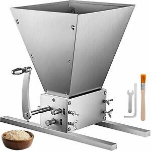 Grain Mill Barley Grinder Malt Crusher 3 Roller Anti-corrosion Barns Silver